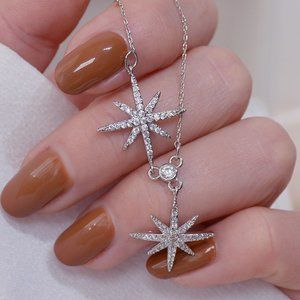 NEW 14K WT Gold Plated Diamond Star Necklace b